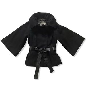 GUESS Wide Sleeve Black Wool Button Down Coat with Leather Belt